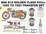 BSA A10 Golden Flash 1950 to 1954 Transfer Decal Set (3)